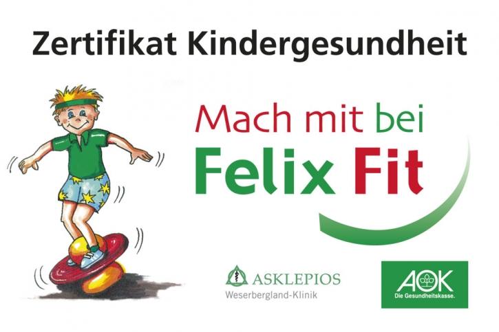 Aufkleber Felix Fit Zertifikat