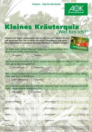 Kräuter Quiz DIN A 4